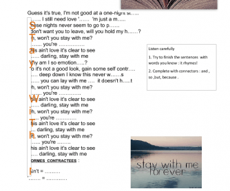 Song Worksheet: Stay with Me by Sam Smith