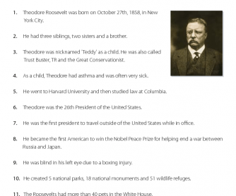 Theodore Roosevelt - Reading Comprehension