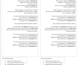 Song Worksheet: Put Your Records On by Corinne Bailey Rae