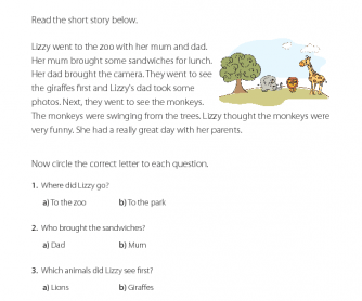 Reading Comprehension - A Trip to the Zoo