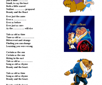 Song Worksheet: Beauty and the Beast