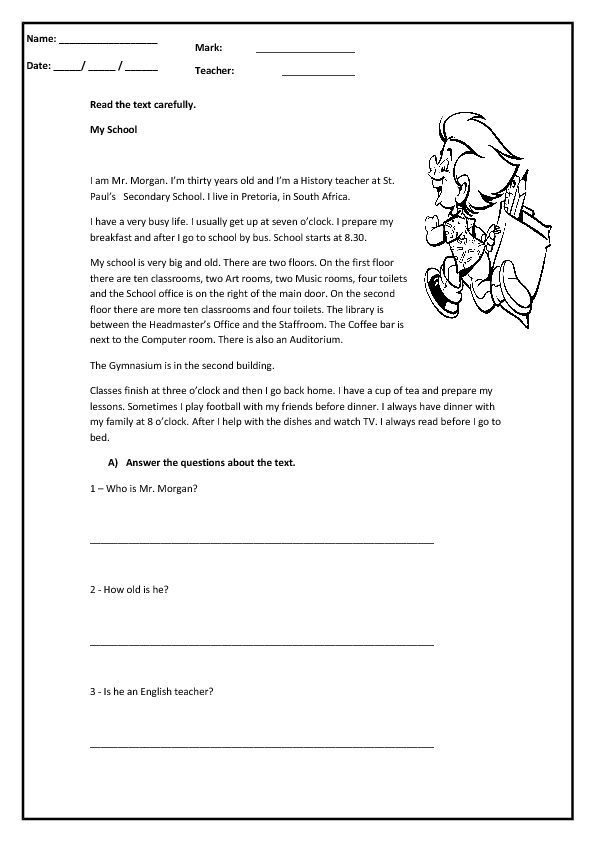 My School Reading Prehension Worksheet