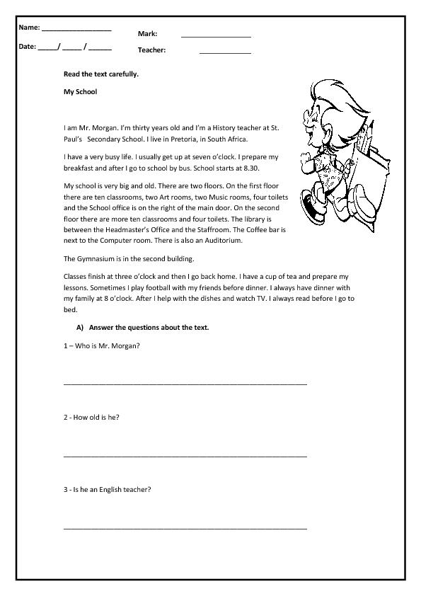 School Reading Comprehension Worksheet – Easy Reading Comprehension Worksheets