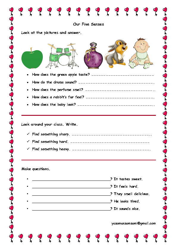 Senses Worksheet – Five Senses Worksheet