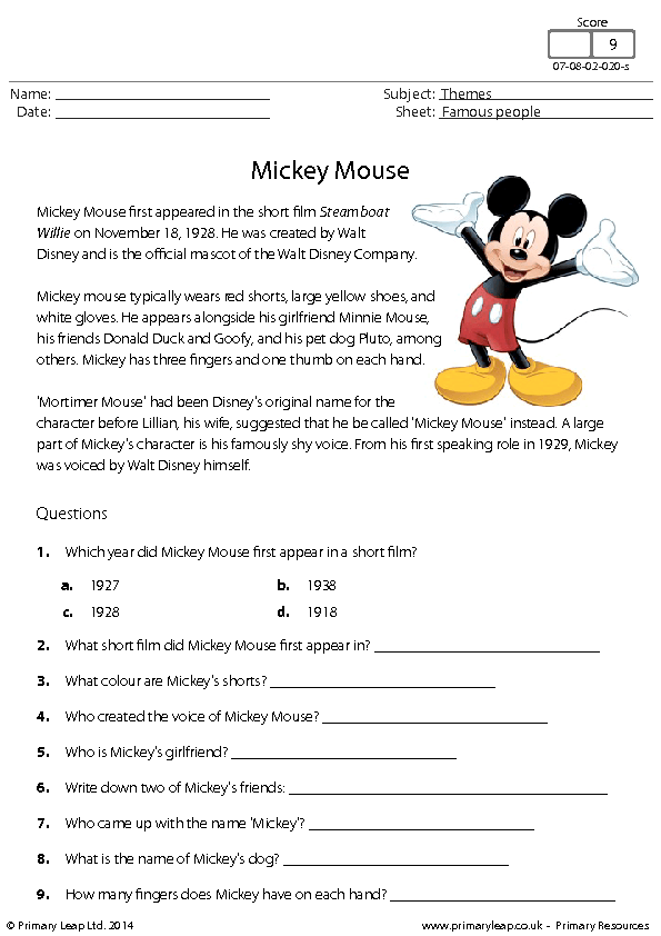 Worksheets Read Comprehension Worksheets mickey mouse reading comprehension