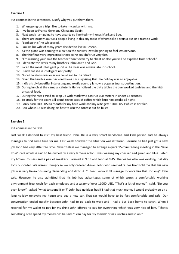 Commas Worksheet High School: 40 FREE Punctuation Worksheets,
