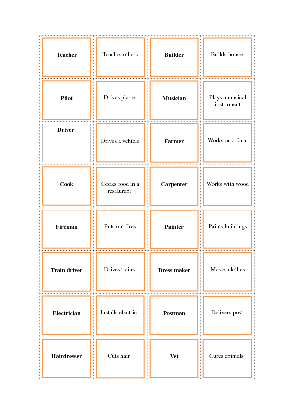 photograph relating to Make Your Own Matching Game Printable known as Careers and Careers Matching Recreation