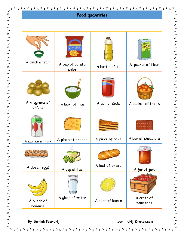 Countableuncountable_nouns Worksheets on Food Measurement Worksheets