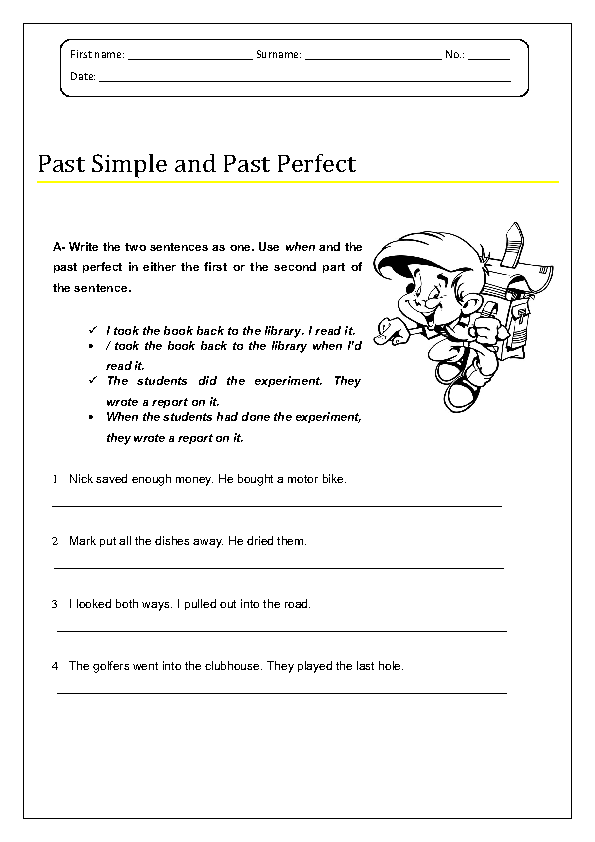 113 FREE Past Perfect Worksheets – Past Perfect Worksheet