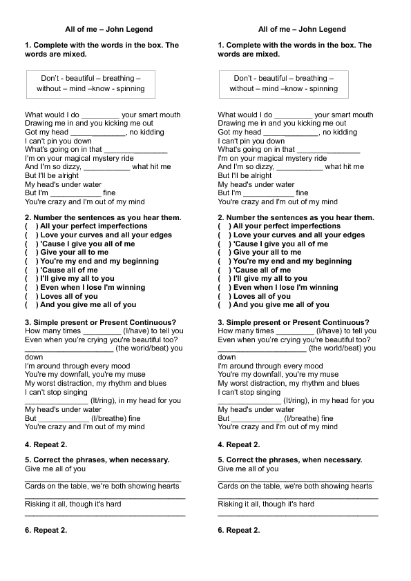 Worksheet: All of Me by John Legend (Present Simple vs Present ...