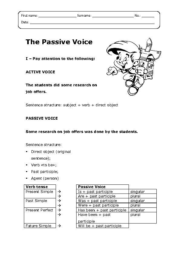 Passive Voice Worksheet – Active Vs Passive Voice Worksheet