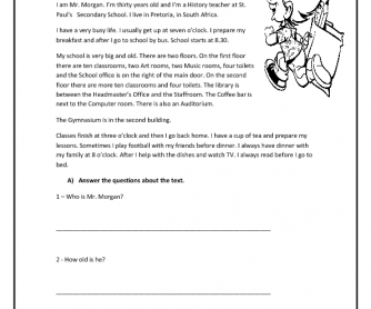 My School Reading Comprehension Worksheet