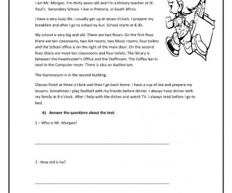 my school reading comprehension worksheet. Black Bedroom Furniture Sets. Home Design Ideas