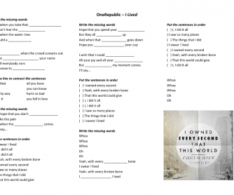 Song Worksheet: I Lived by OneRepublic