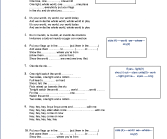 Song Worksheet: We Are One by Pitbull