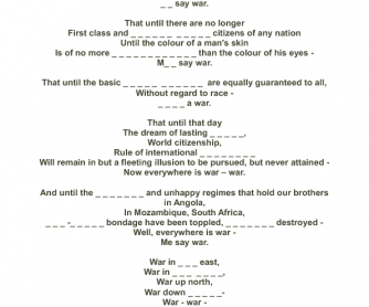 Song Worksheet: War