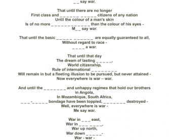 Song Worksheet: War