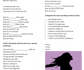 Song Worksheet: Mr Brightside (Present Continuous)