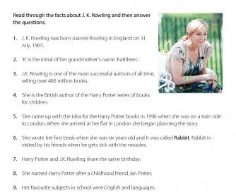 J.K. Rowling - Reading Comprehension