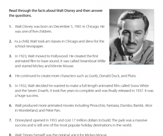 Walt Disney - Reading Comprehension