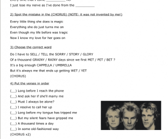 Song Worksheet: Every Little Thing She Does Is Magic by The Police