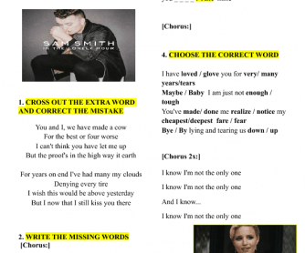 Song Worksheet: I'm Not the Only One by Sam Smith