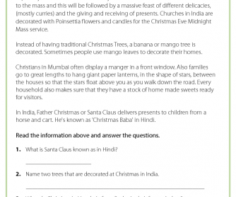 Reading Comprehension - Christmas in India