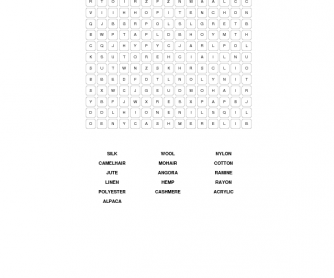Fibres & Materials Word Search