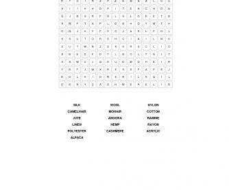 Fibres & Materials Word Search