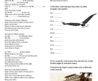 Song worksheet hotel california by eagles altavistaventures Gallery