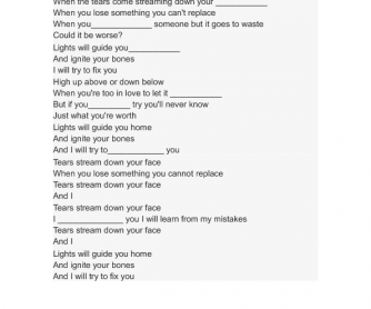 Song Worksheet: Fix You by Coldplay (Paraphrase)