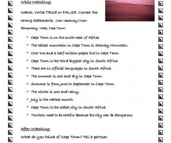 Movie Worksheet: Cape Town
