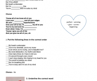 Song Worksheet: All of Me by John Legend
