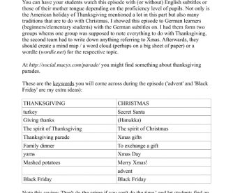 Movie Worksheet: Thanksgiving and Christmas ( Friends)