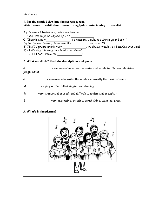 121 FREE Music Worksheets – Vocabulary Worksheets for Middle School