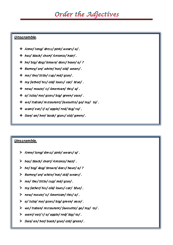 of the Adjectives PDF – Ordering Adjectives Worksheet