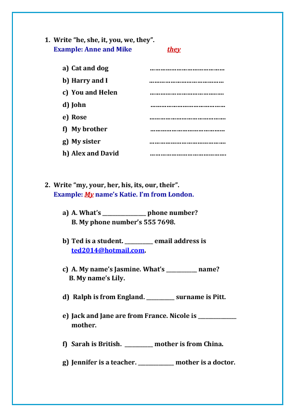 158 FREE Personal Pronouns Worksheets – Subject Pronoun Worksheets