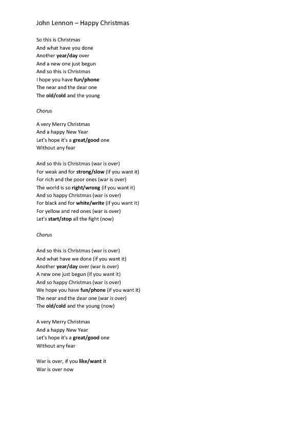 Song Worksheet: Happy Xmas by John Lennon