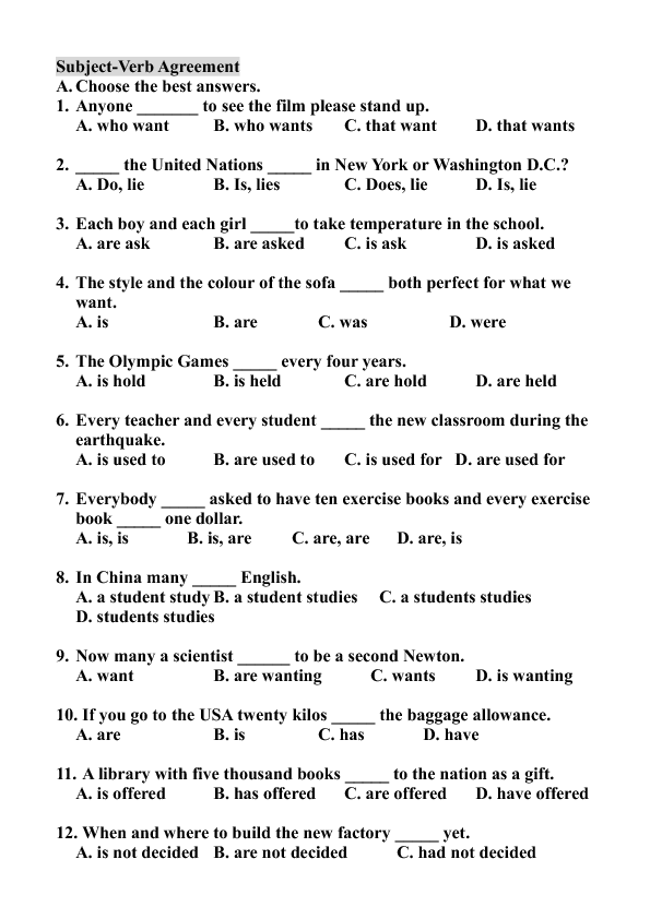 Verb Agreement – Subject Verb Agreement Practice Worksheets