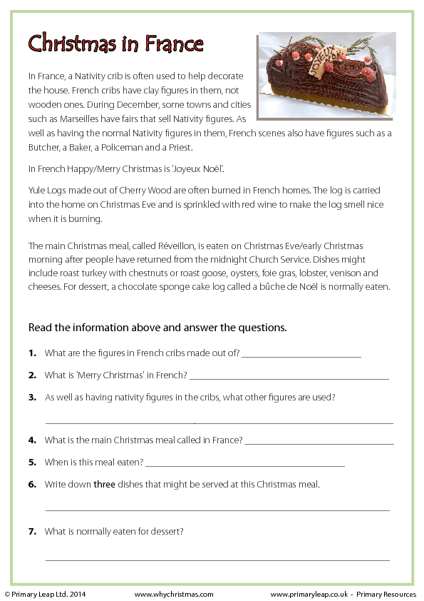 Worksheets Christmas Comprehension Worksheets comprehension christmas in france reading france
