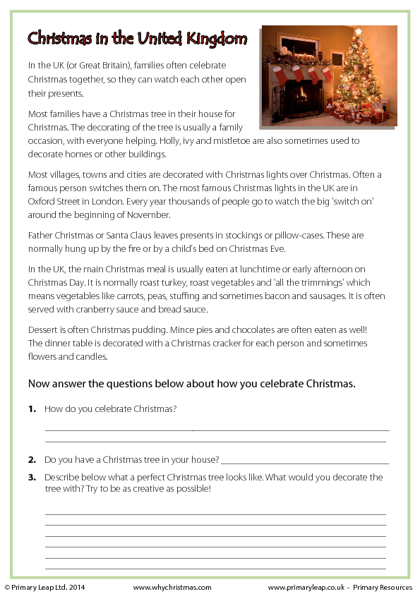 Printables Christmas Reading Comprehension Worksheets reading comprehension christmas in the united kingdom