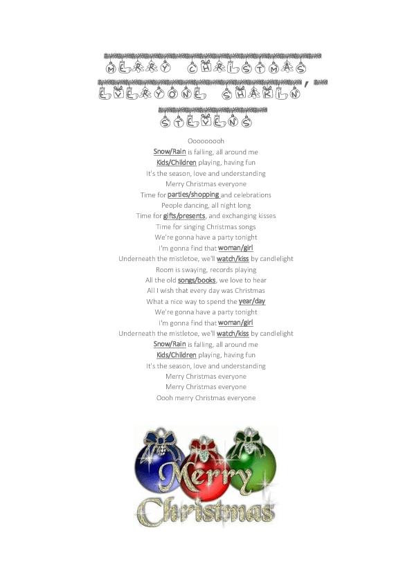 Song Worksheet: Merry Christmas Everyone by Shakin\' Stevens