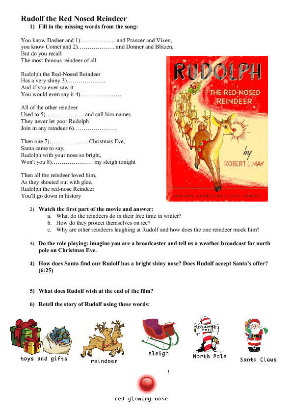 Movie Worksheet Rudolf the Red