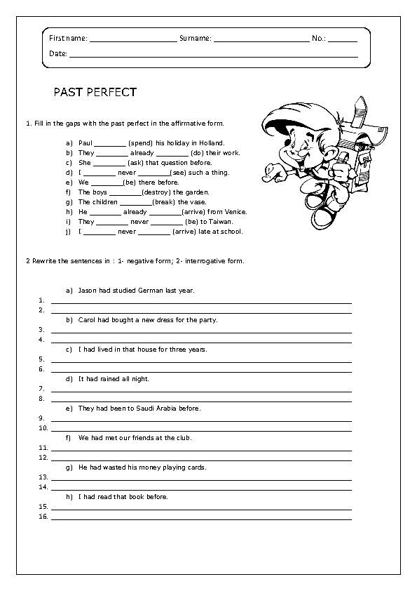 113 FREE Past Perfect Worksheets – Spanish Interrogatives Worksheet