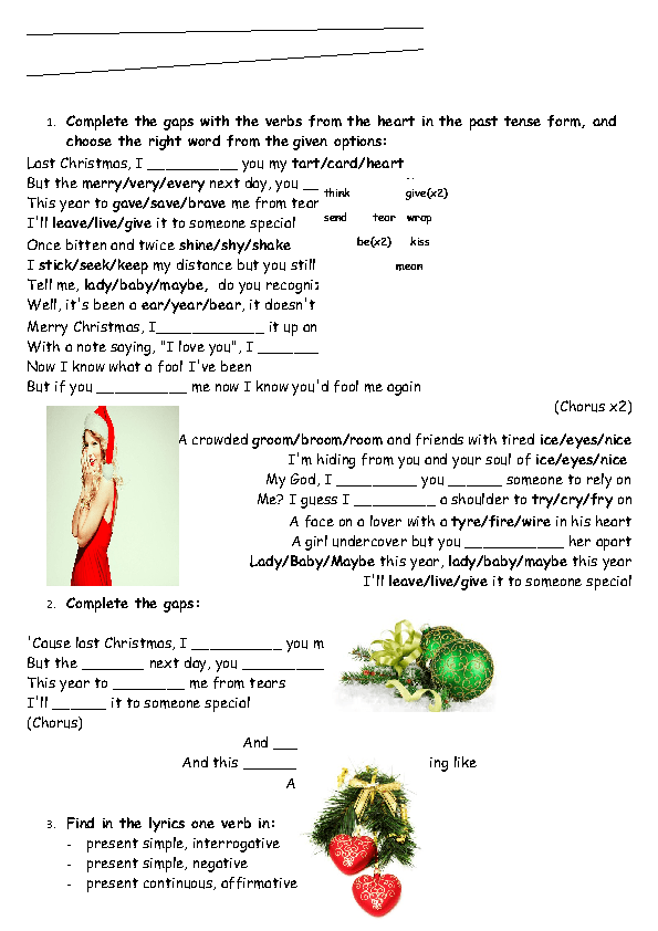Song Worksheet Last Christmas