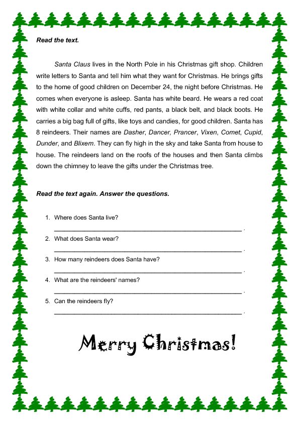 Worksheets Christmas Comprehension Worksheets reading christmas reading