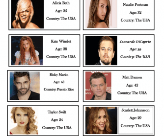 Celebrities Worksheet