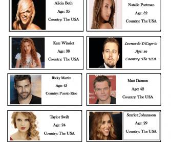 Celebrities Worksheet