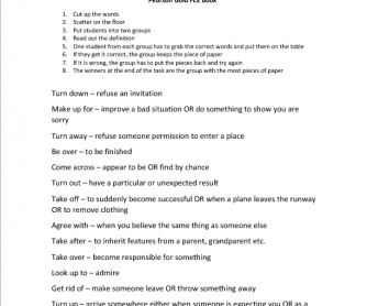 Cambridge First Exam Phrasal Verb Review Game