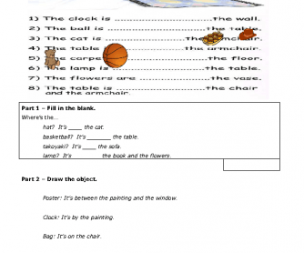 Prepositions of Place - Writing and Drawing Activity